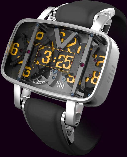 простой цифровой экран в качестве альтернативы механическим аналоговым часам с движущимися стрелками