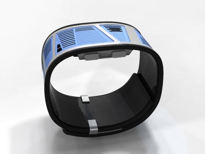 Часы будут похожи на стальной браслет покрытый с внутренней стороны каучуком