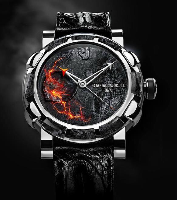 часы с вулканической породой и пеплом с вулкана Эйяфьяллайекюль на юге Исландии