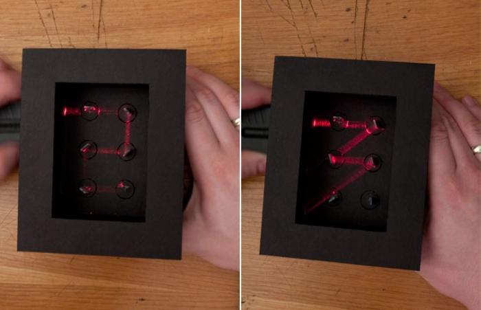 Тестирование отражений с помощью рабочего прототипа с системой зеркал и лазером