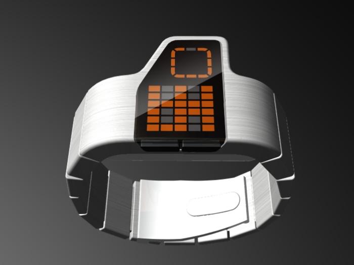 Футуристический дизайн подчеркивает черный экран, оранжевый интерфейс и металлический браслет