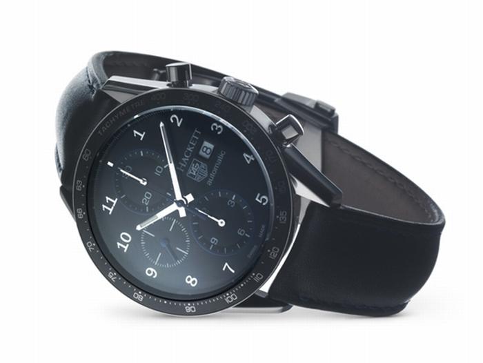 Часы представляют собой совместный проект часовой компании TAG Heuer и британского поставщика товаров класса люкс – Hacket