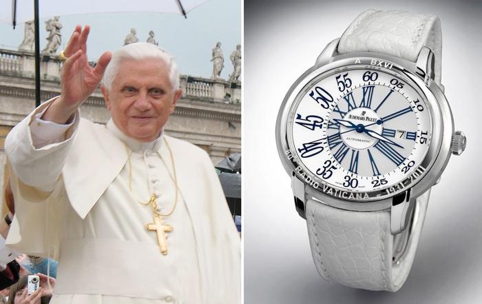 Папе Бенедикту XVI часы Audemars Piguet Millenary с корпусом из белого золота и с памятной надписью на безеле