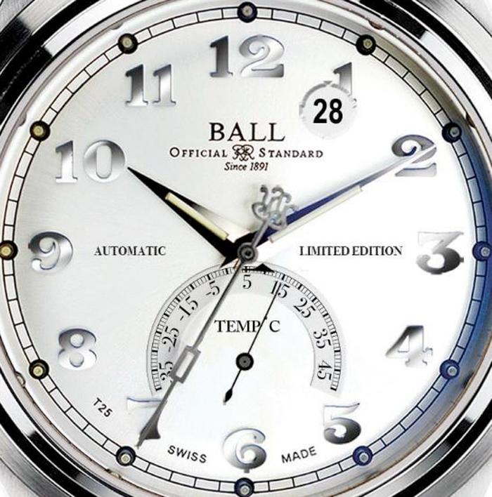 Модель оснащена автоматическим механизмом BALL 9018, с механическим модулем термометра