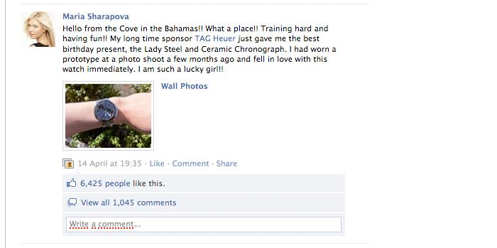 Мария Шарапова показывает 5-ти миллионам своих поклонников в фейсбуке подарок от Tag Heuer на день рождения