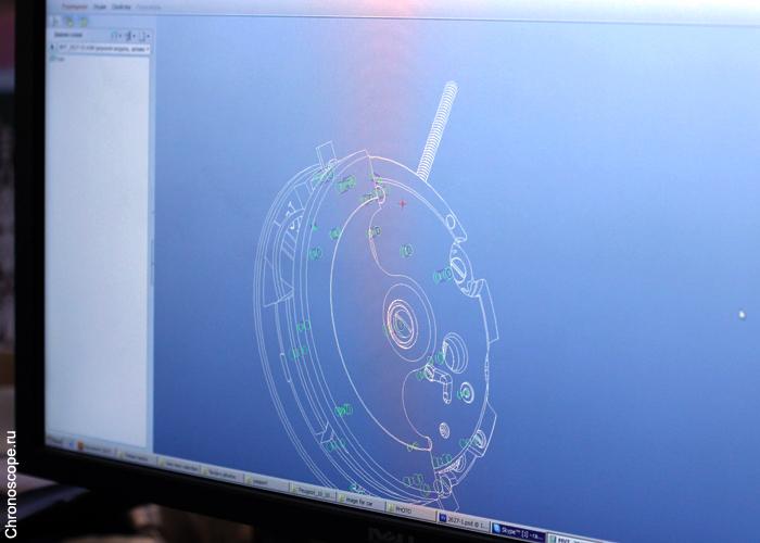 шпионский снимок из офиса Ракеты - на экране 3D-модель механизма с автоподзаводом