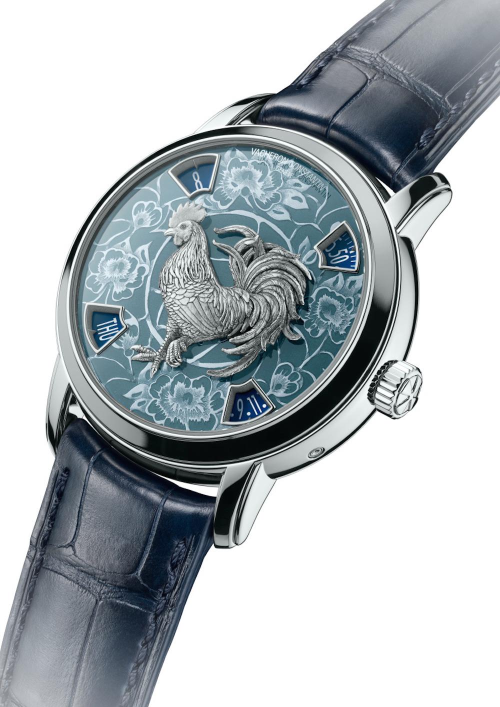 Zodiac coq platine cadran bleu 86073/000P-B154